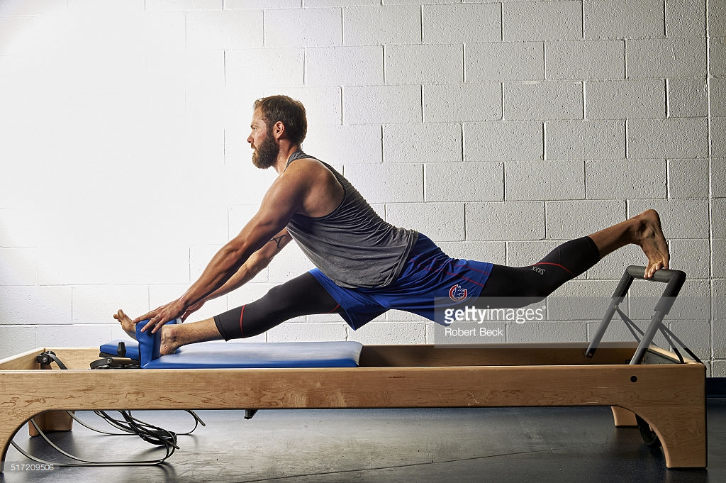 Baseball: MLB Season Preview: Portrait of Chicago Cubs pitcher Jake Arrieta demonstrating Pilates workout on Reformer equipment during spring training photo shoot at Sloan Park.  Mesa, AZ 2/27/2016 CREDIT: Robert Beck (Photo by Robert Beck /Sports Illustrated/Getty Images) (Set Number: SIK-215 TK1 )