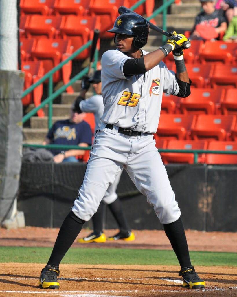 TRACY PROFFITT - Gregory Polanco #25 - West Virginia Power prepares to bat during a game in Hickory NC on June 2, 2012.